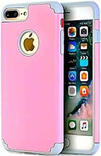 CaseHQ Pink+Grey Extreme Heavy Duty case for iPhone 7 Plus,iPhone 8 Plus, Protective Case soft rubber TPU PC Bumper Anti-Scratch Shockproof Rugged Protection Cover for apple iPhone 7/8 Plus phone