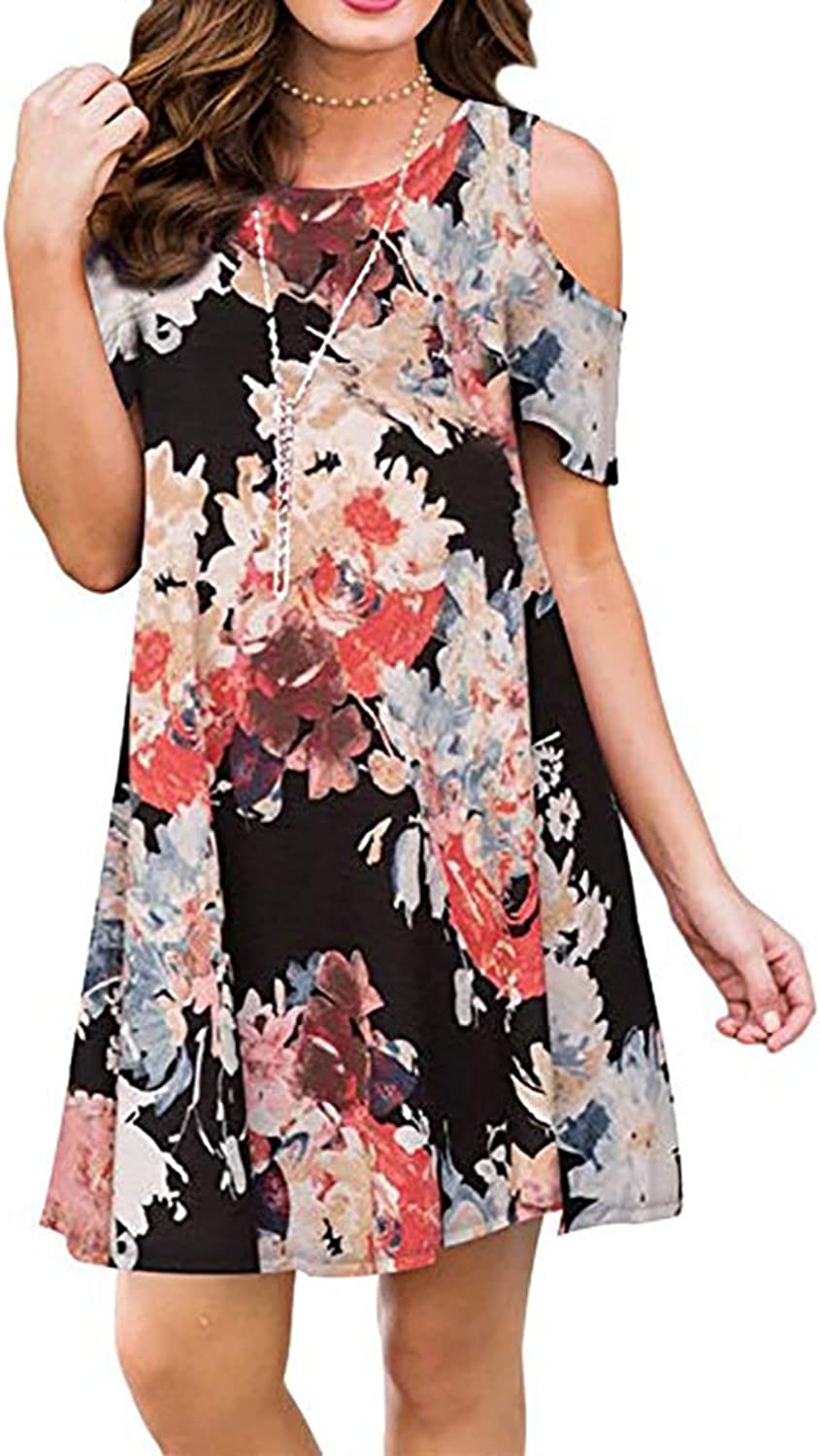 Teeuiear Women's Vintage Off Cold Shoulder Tunic Short Sleeve Floral Print Casual Midi T Shirt Loose Swing Dress Pocket