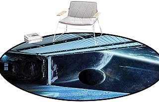 Carpet Padding Outer Space Decor Moon Before Station Planet Apocalypse Landing Alternative Humanoid Robots Navy Blue Bathroom Rugs Round 5'Diameter