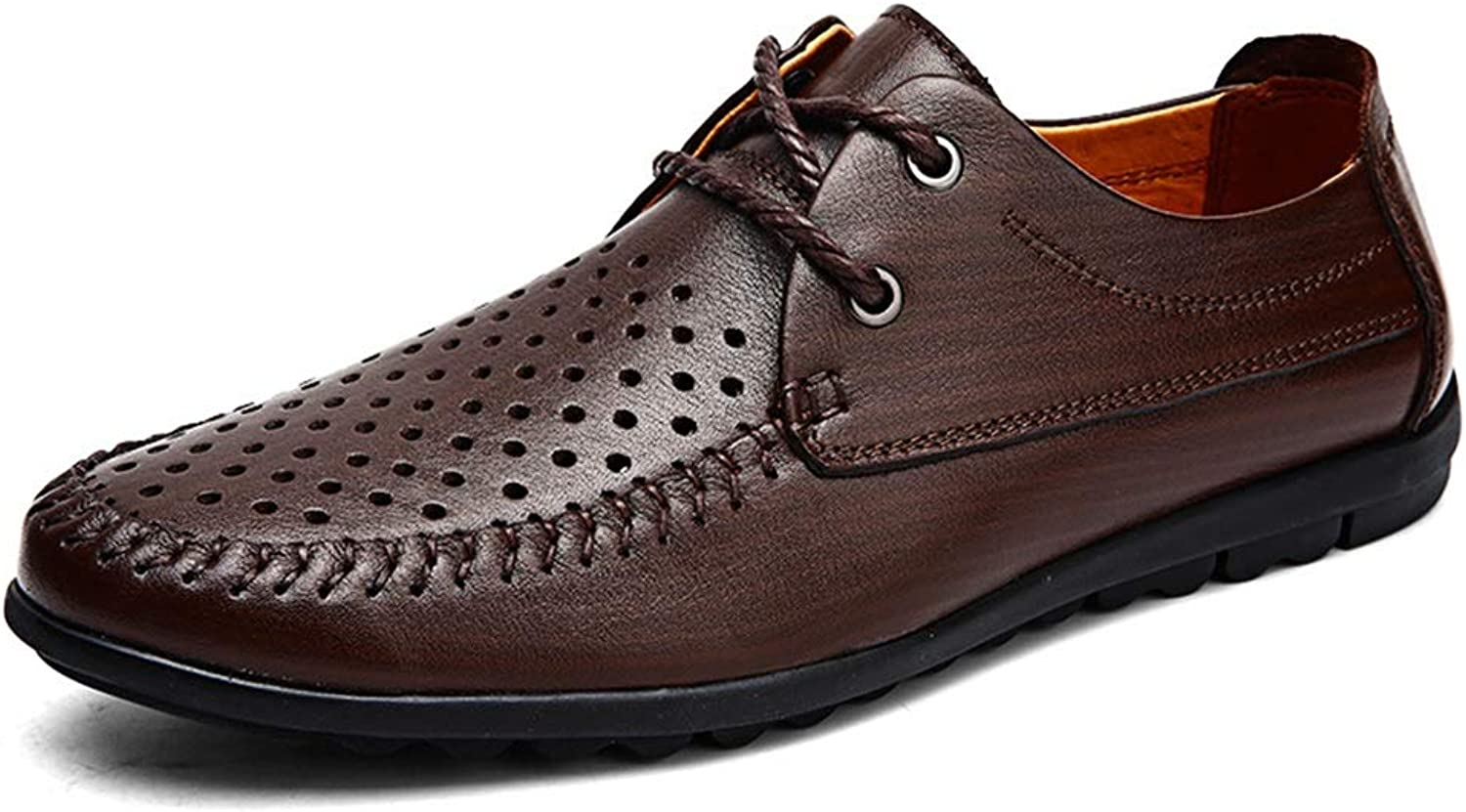 Oxford shoes for Men Formal shoes Lace Up Style OX Leather Simple Pure color (Hollow Optional) (color   Hollow Brown, Size   9.5 D(M) US)