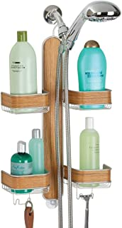 mDesign Metal Hanging Bath and Shower Caddy Storage Organizer for Hand Held Shower Head and Hose - 2 Levels for Bathroom Showers, Stalls, Bathtubs - 4 Shelf Format - Satin/Teak Wood Veneer Finish