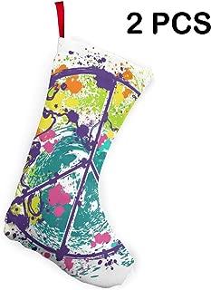 DNHUIVNIU Peace Symbol On Earth Globe Christmas Stockings,Xmas Stocking,Classic Xmas Stocks for Decoration Kids Gift Cards Holding Stocking Tree Ornament 2 Pcs Gift Socks