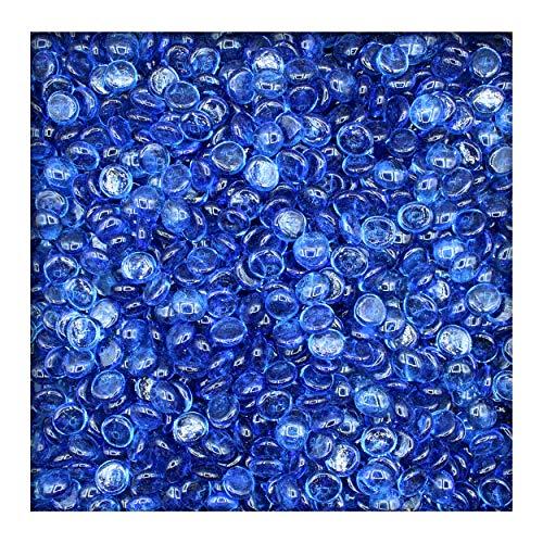 Kieskönig 1 kg Glasnuggets Glassteine Muggelsteine Mosaiksteine Tischdeko 17-19 mm Eisblau