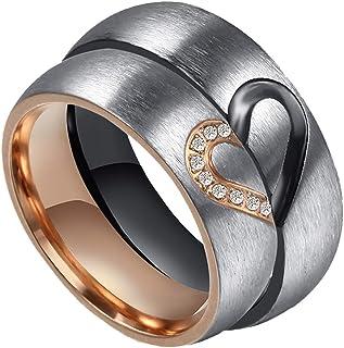 مجموعة خاتم زفاف للرجال والنساء من PAMTIER من الفولاذ المقاوم للصدأ 6 مم من الماس المصقول قلب مرصع بالألماس