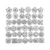 Your Perfect Gifts 40 pcs Silver Rhinestone Brooches Set Crystal Wedding Invitation Brooch Bouquet Wholesale Lot AMBR665