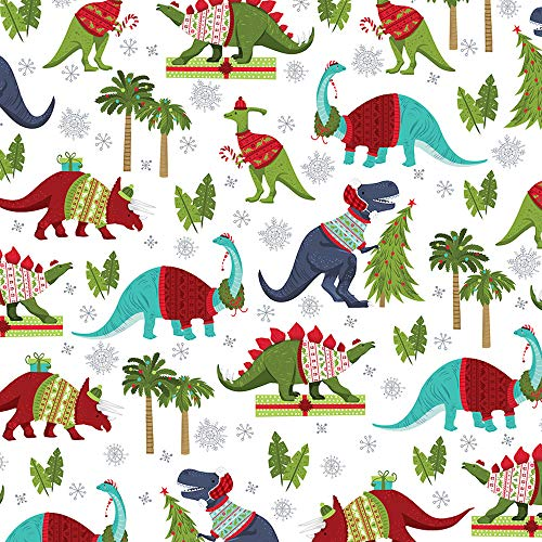 Christmas Dinosaurs Wrapping Paper Roll, 2 Feet x 20 Feet Children's Christmas Giftwrap with T-Rex, Stegosaurus, Triceratops and Other Festive Dinosaurs