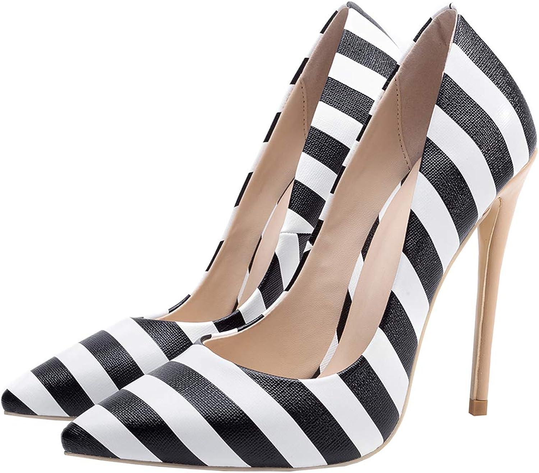 Artfaerie Womens Point Toe Stiletto Court shoes High Heels Stripe Pupms