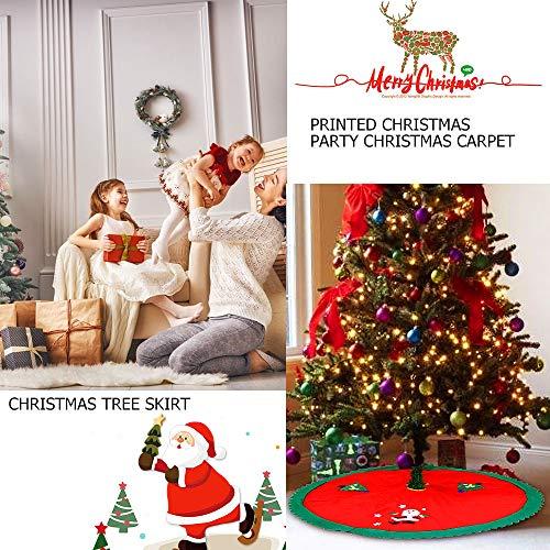 WELLXUNK Cubierta De Base Arbol Navidad, Decoración De Falda De Navidad, Navidad Alfombra De Árbol, para Navidad Fiesta De Año Vacaciones Decoración (Rojo)