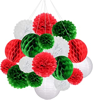 18pcs Christmas Party Decorations Supplies Kit Pom Paper Flowers Paper Lanterns Honeycomb Balls for Wedding Birthday Baby Shower New Year Festival Party Decor