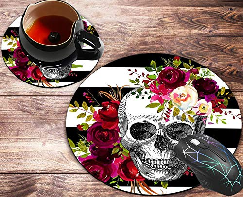 Round Mouse Pad and Coasters Set, Skull Flower Mousepad, Anti Slip Rubber Round Mousepads Desktop Notebook Mouse Mat for Working and Gaming