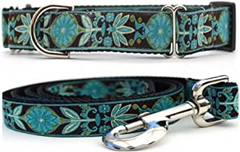 """product image for Diva-Dog 'Boho Peacock' 1"""" Wide Chainless Martingale Dog Collar, Matching Leash Available"""