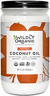Organic Coconut Oil Refined (No Coconut Flavor or Scent, Expeller Pressed), Non-GMO, Glass Jar, Wildly Organic, - 28 FL OZ