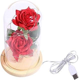 QWERTYUKJ Flor Eterna Bella Y Bestia Rosa Real Preservada Hecha A Mano para Siempre El Día De San Valentín la Madre Aniver...