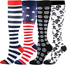 (S/M, 4 Pairs,USA Flag and Skull) - HLTPRO Compression Socks for Women & Men 20-30 mmHg - 1 to 6 Pairs Compression Stockings Best for Running, Crossfit, Travel, Nurse, Maternity Pregnancy