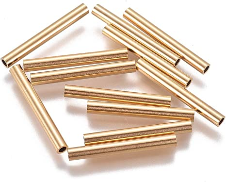 20pcs//lot stainless steel Curved Tube Connector Charm Bead for Jewelry Dull Gold
