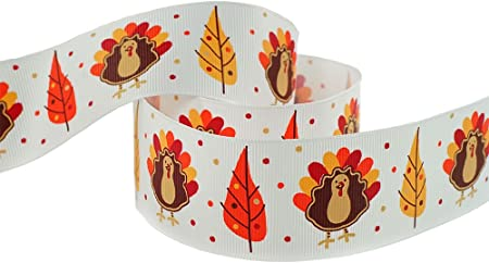 3 yards 78 Brown and Orange Turkey ribbon Grosgrain Ribbon Thanksgiving Ribbon Happy Turkey Printed Ribbon Hair Bow Ribbon Party decor