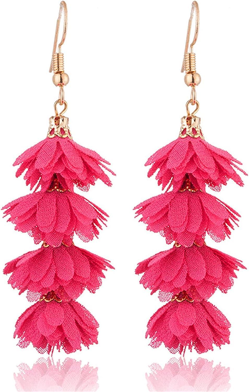 Bohemian Boho Long Multilayer Flower Chiffon Rose Earrings for Women Fahsion Jewelry Drop Dangle Gold Earrings