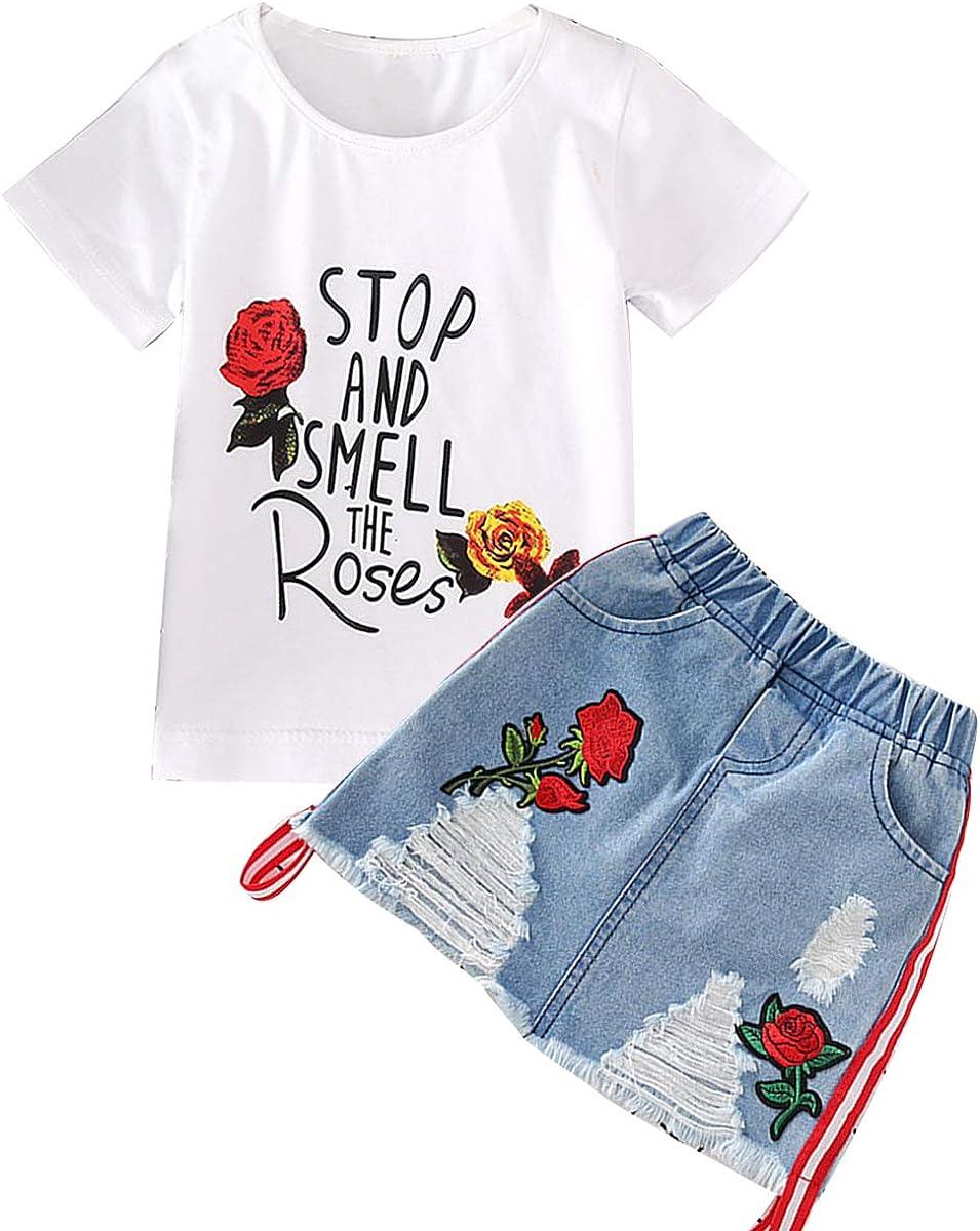 Borlai Conjunto de Ropa de Verano para Niñas Bordado Flor Rosa Camiseta + Falda de Mezclilla 2-7 Años