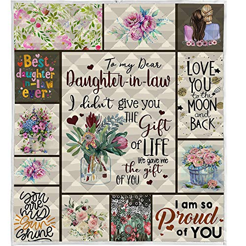 LIVIN' ILLUSION to My Daughter in Law Quilt Pattern Blanket 5 Sizes Birthday Customized Teen Girl Gifts Kids Graduation Gifts All Season for Bed Soft Warm Blanket (US Throw 50'×60'(130cm×150cm))