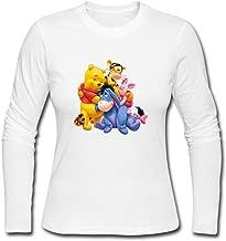 YWT Winnie Ourson Pooh Tigrou Porcinet Piglet Womans T Shirts Pre-cotton Style Size L Color White