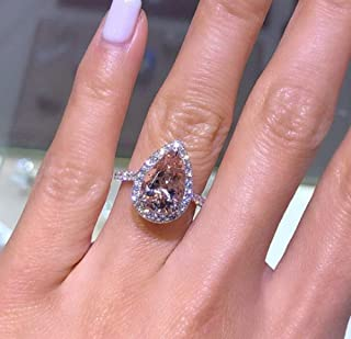 Weishu Women's 925 Sterling Silver pear Cut 5ct Pink Cubic Zirconia Ring Cocktail Engagement Wedding Ring Promise Aura Single Stone Engagement Ring (US Code 8)