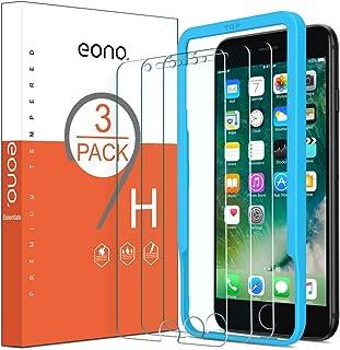 EONO Essentials [3 Piezas] Protector de Pantalla para iPhone 6/ iPhone 6S/ iPhone 7/ iPhone 8 Cristal Templado Sin despegamiento Sin Burbujas con Posicionador