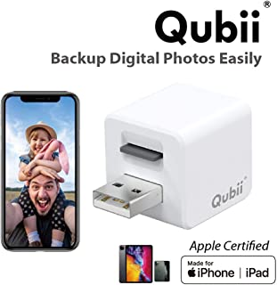 Qubii Photo Storage Device for iPhone & iPad, Auto Backup Photos & Videos, Photo Stick for iPhone, Digital Photos Organizer?microSD Card Not Included?- White