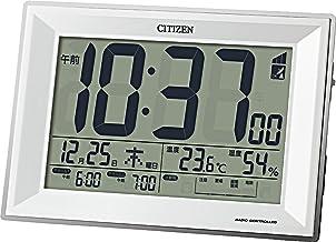 CITIZEN シチズン 目覚まし時計 電波時計 温度計・湿度計付き パルデジットワイドDL 白 117x173x57mm 8RZ151-003