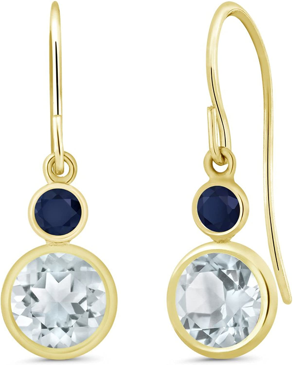 1.76 Ct Round Sky bluee Aquamarine bluee Sapphire 14K Yellow gold Earrings