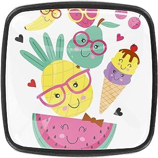 Paquet de 4 boutons d'armoire de cuisine, boutons pour tiroirs de commode Fruit de crème glacée mignonne Tire les poignées...