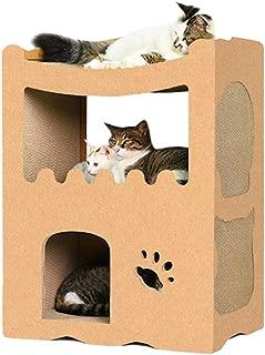 【RAKU】猫用爪とぎ キャットハウス キャットタワー ダンボールハウス 爪とぎ兼ベッド 猫箱 二層 組み立て式 高密度段ボール 収納簡単 ストレス解消 通気 (2部屋)