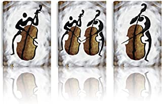 BPAGO Music Cello Modern Abstract Painting Imitation Oil Painting Wall Decor Paintings on Canvas Wall Art for Living Room Bedroom Home Office Bathroom Stretched and Framed Ready to Hang 36x12inch