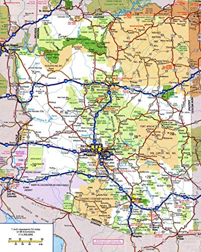 Large Detailed Roads and Highways map of Arizona State with All Cities and National Parks Vivid Imagery Laminated Poster Print-20 Inch by 30 Inch Laminated Poster