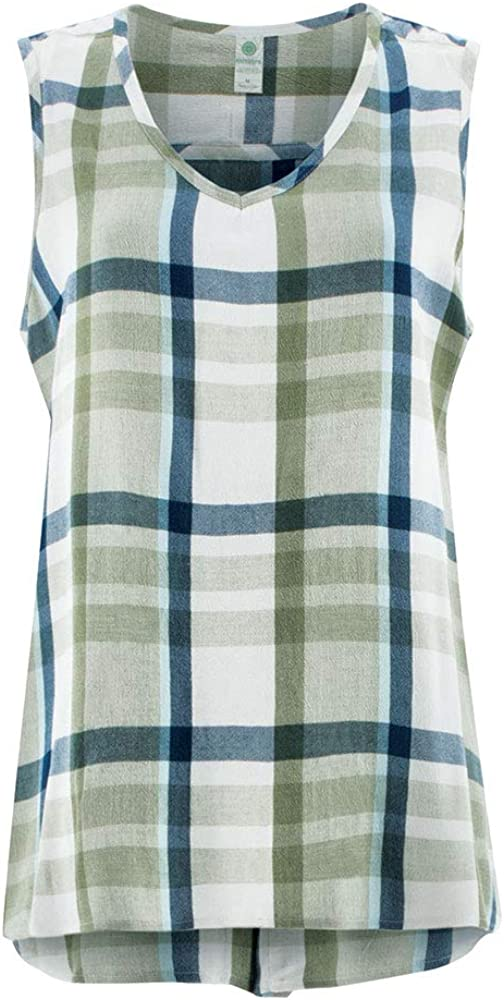 Aventura Women's Sleeveless Raelynn Plaid Tank Top Shirt with Back Button Placket