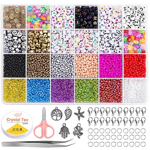 5640pcs Cuentas de Colores, 3mm Perlas Cuentas y Abalorios Letras con Cuerda...