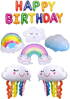 Birthday Party Rainbow Foil Balloon Kit, 18 Pcs Rainbow Cloud and Happy Birthday Banner for Wedding Baby Shower Engagement...