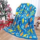 Wellber Soft Dinosaur Blanket for Kids Boys, Plush Fluffy Fleece Throw Blanket for Bed Sofa Couch Seat, 30''x40'' Cute Lightweight Print Fuzzy Blanket for Children Toddler Baby Room Decor Best Gift