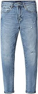 Pursuit-of-selfSlim Jeans for Men Skinny Slim Hole Washed Denim Pencil Pants