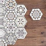 azulejos adhesivos cocina,10 piezas de pegatinas de azulejos árabes de seis lados, pegatinas de suelo antideslizantes para baños y cocinas, pegatinas de pared de mosaico