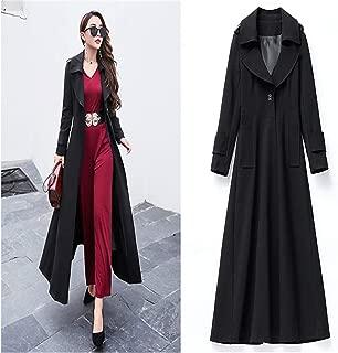 Autumn Winter Women Windproof Jacket Big Hem X-Long Slim Coat Autumn Plus Size 4XL Windbreaker for Women Black XXXXL