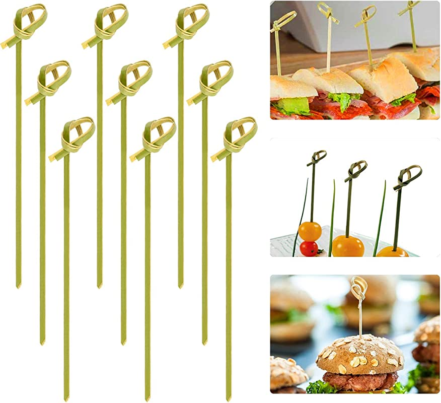 Cosweet 500 Pcs Bamboo Knot Cocktail Skewers Picks 5 Inches Great For Hors D Oeuvre Appetizers Cocktail Party Or Barbeque Snacks Club Sandwiches