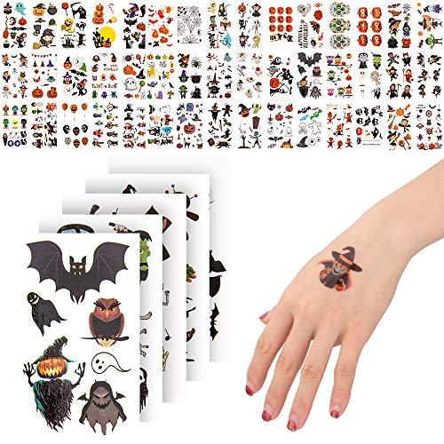 ZIIDOO Tatuajes Temporales de Halloween, Pegatinas de Tatuajes No Tóxicos para Niños y Niñas, Pegatina de Tatuaje de Fantasma Zombi con Diseño de Murciélago Negro para Fiestas de Halloween
