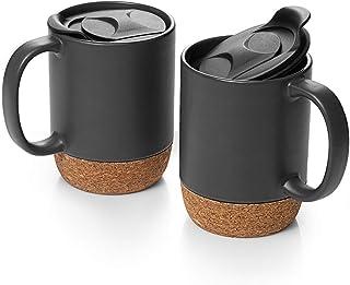 DOWAN 15 عدد قهوه ساز مجموعه ای از قهوه، مجموعه ای از 2 لیوان های سرامیکی بزرگ، با سرامیک عایق سرامیکی و چلپ چلوپ مات، مات سیاه