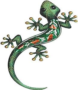 StealStreet Green Lizard Orange Spotted Copper Wall Decoration