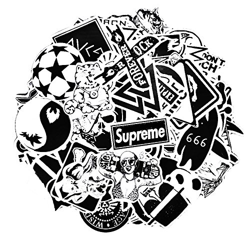 Neuleben Sticker Pack [100-Pcs] Graffiti Black White Sticker Decals Vinyls for Laptop,Kids,Cars,Motorcycle,Bicycle,Skateboard Luggage,Bumper Stickers Hippie Decals Bomb Waterproof