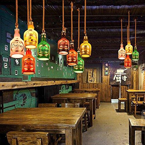 Beakjiful Pendelleuchte Industrial Vintage Pendellampe Modern Hängelampe Esszimmer/Schlafzimmer/Wohnzimmer Hängeleuchte Bar Harz Flasche Single Head Cafe Light, wie in Abbildung 5 gezeigt.