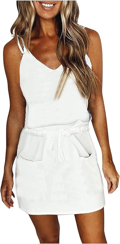 ONHUON Summer Dresses for Women Casual,Women Stripe Loose Strap Mini Dress Sleeveless V-Neck Dress with Drawstring