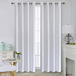 Home Basics Peninsula Blackout Collection 54x84 Window Curtain Single Panel, Made of 100% Polyester (White)