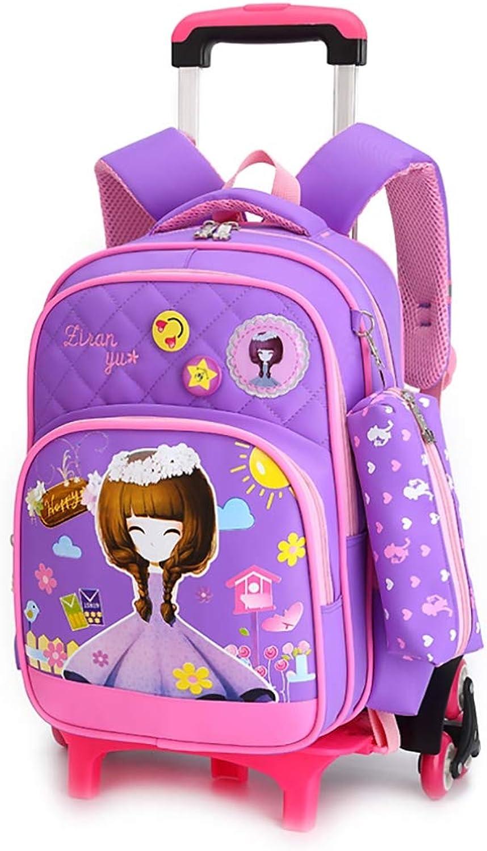 e495a098c3b1e Kccy Stilvoll M auml dchen M auml dchen M auml dchen Rucksack mit  R auml dern - Dauerhaft Rollender Daypack Schultasche mit Stifttasche zum  Grundsch uuml ...