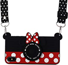 iPhone XR Case with Lanyard, Shinymore 3D Cute Soft Silicone Cartoon Minnie Mouse Camera Design Case for iPhone XR